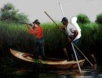 Push your own damn boat, 2009, Cut canvas oil painting por TitusKaphar