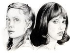 The scream queens, Sissy Spacek & Shelley Duvall. Pencil.